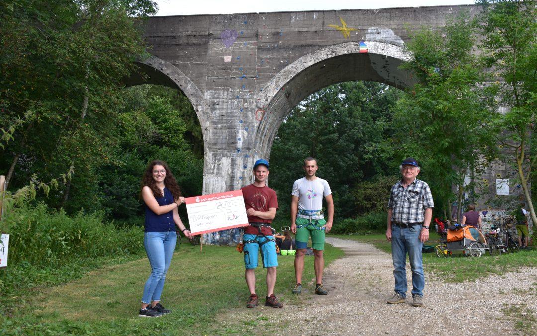 Neue Klettertouren am Viadukt in Laupheim werden mit 400€ aus dem BLAPF- Fonds bezuschusst