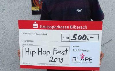 500€ aus dem BLAPF-Fonds für Hip Hop Fest Bad Buchau