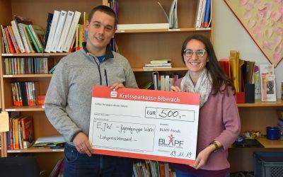 500€ aus dem BLAPF- Fonds für das Lobpreiskonzert mit Samuel Harfst des EJW in Wain